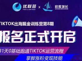 优联荟TikTok出海掘金训练营第8期,小北老师坐镇再度迭代升级的实操课程